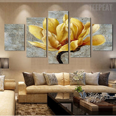 Golden Orchid Flowers - 5 Piece Canvas Painting