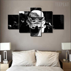 Storm Trooper Face - 5 Piece Canvas Painting