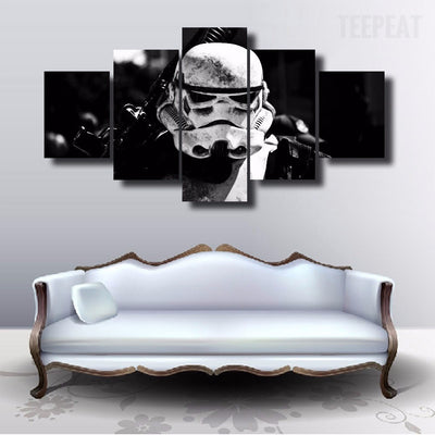 Storm Trooper Face - 5 Piece Canvas Painting-Canvas-TEEPEAT