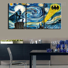 Starry Night - Batman - 3 Piece Canvas