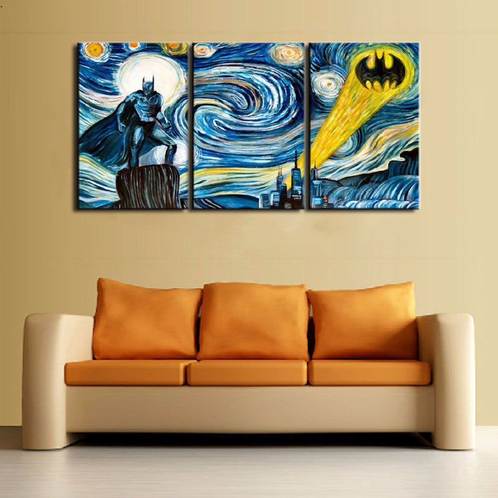 Starry Night - Batman - 3 Piece Canvas - Empire Prints