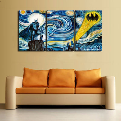Starry Night - Batman - 3 Piece Canvas-Canvas-TEEPEAT