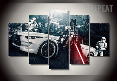 Star Wars: Darth Vader and Stormtroopers V2 Painting - 5 Piece Canvas-Canvas-TEEPEAT