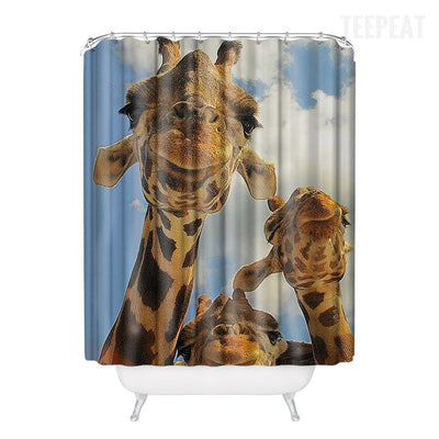 Giraffes Pattern Shower Curtain-TEEPEAT