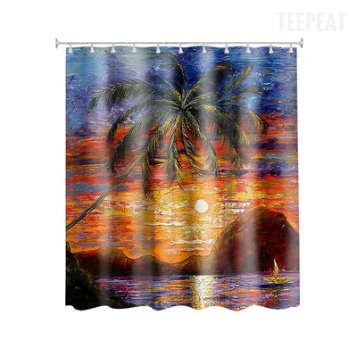 Tropical View Sunset Shower Curtain-TEEPEAT