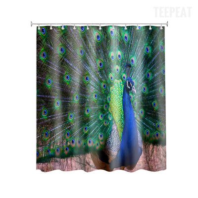 Peacock Design Shower Curtain-TEEPEAT