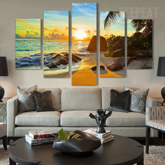 Sunset On The Ocean Painting - 5 Piece Canvas