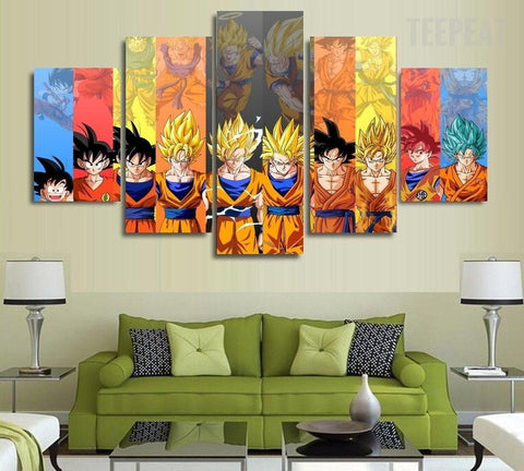 Son Goku Transformations 5 Piece Canvas Painting