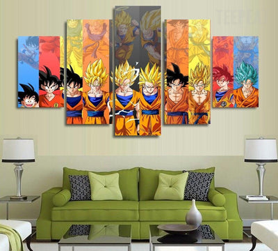 Son Goku Transformations - 5 Piece Canvas Painting-Canvas-TEEPEAT