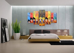 Son Goku Transformations - 5 Piece Canvas Painting