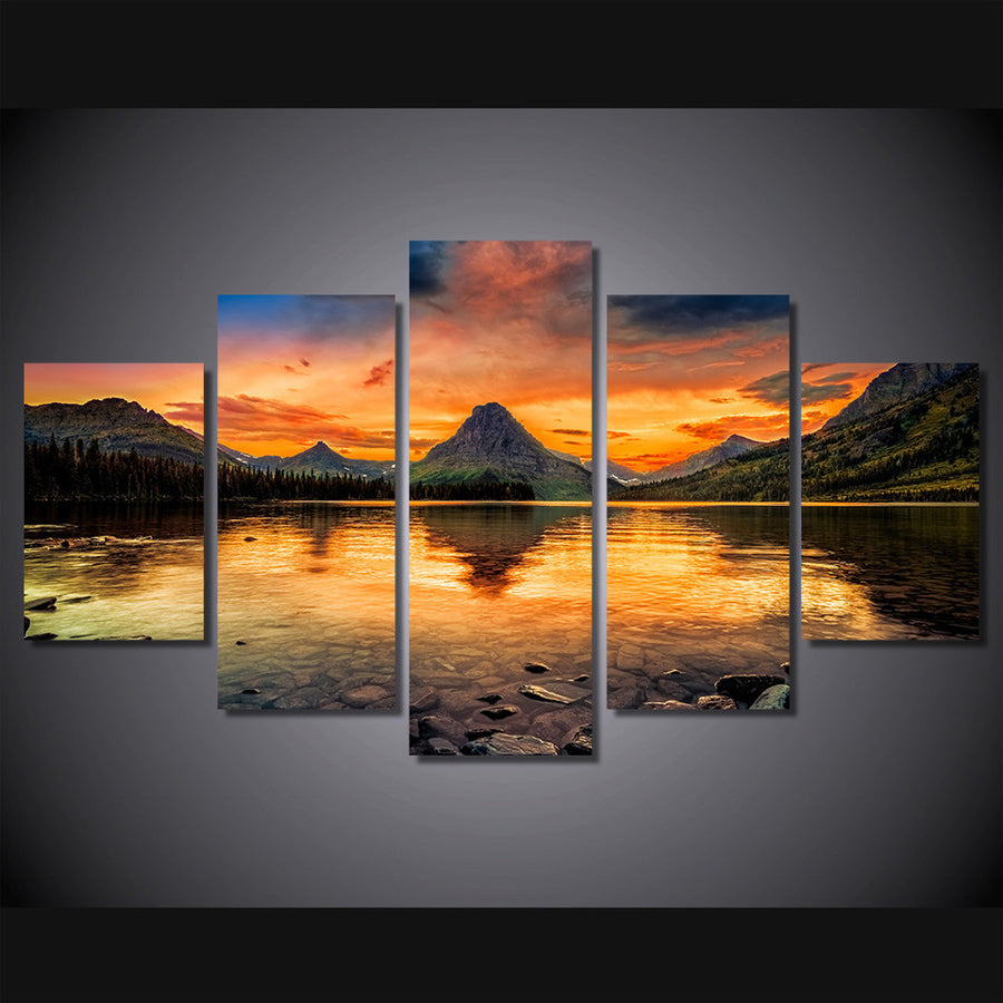 Lake Glacier Painting - 5 Piece Canvas