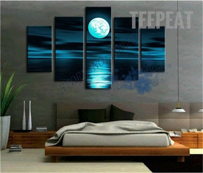 Moonlit Night Painting - 5 Piece Canvas