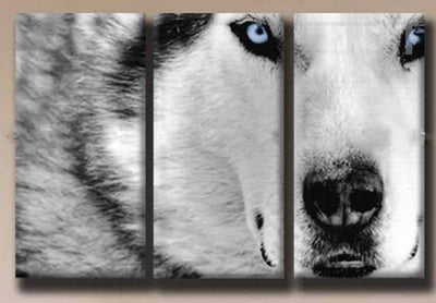 White Wolf Painting - 3 Piece Canvas-Canvas-TEEPEAT