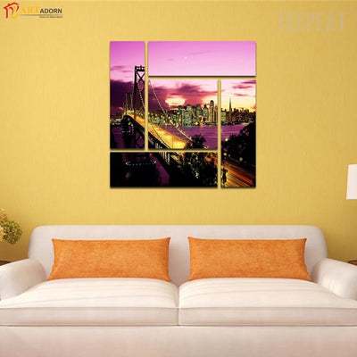 The Golden Gate Bridge Overlooking the City Painting - 5 Piece Canvas-Canvas-TEEPEAT