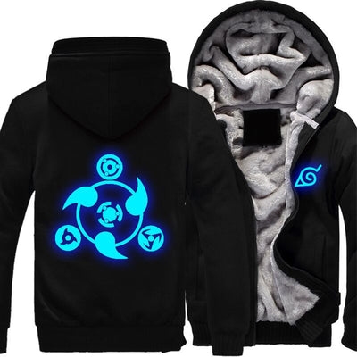Naruto Sharingan Symbols Fleece Hoodie-TEEPEAT