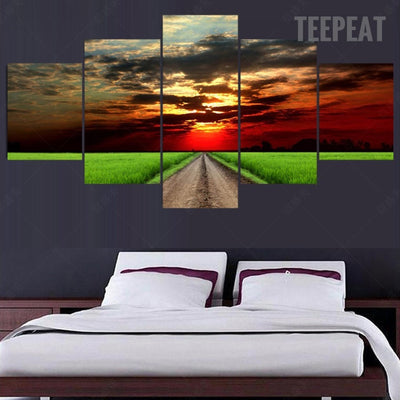 Green Field Before The Beautiful Sunset - 5 Piece Canvas-Canvas-TEEPEAT