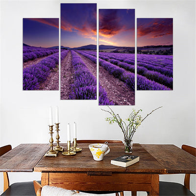 Lavender Landscape Cuadros - 4 Piece Canvas Painting-Canvas-TEEPEAT