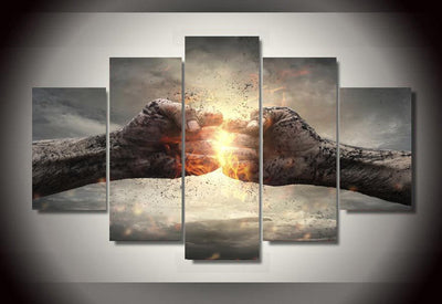 Fist Bump Painting - 5 Piece Canvas-Canvas-TEEPEAT