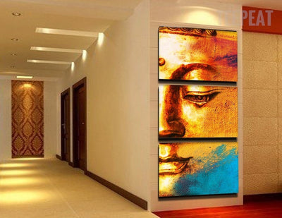Gold Buddha Painting - 3 Piece Canvas-Canvas-TEEPEAT