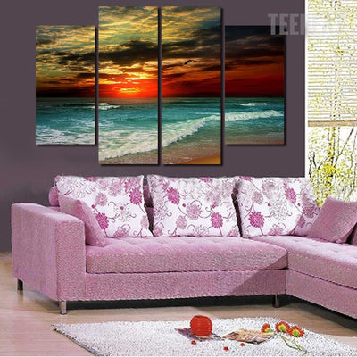 Orange Sky Painting - 4 Piece Canvas-Canvas-TEEPEAT