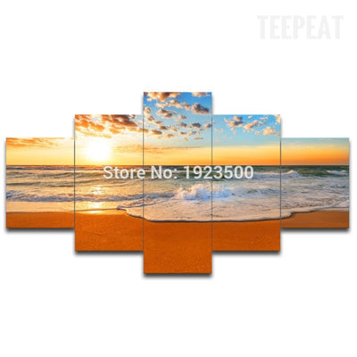 Orange Sky and Sea Painting - 5 Piece Canvas-Canvas-TEEPEAT