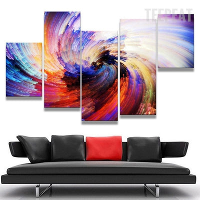 Spiral Of Colors Painting - 5 Piece Canvas