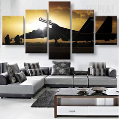 Fighter Plane Painting - 5 Piece Canvas