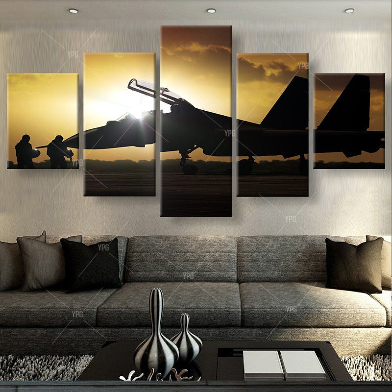 Fighter Plane Painting - 5 Piece Canvas-Canvas-TEEPEAT
