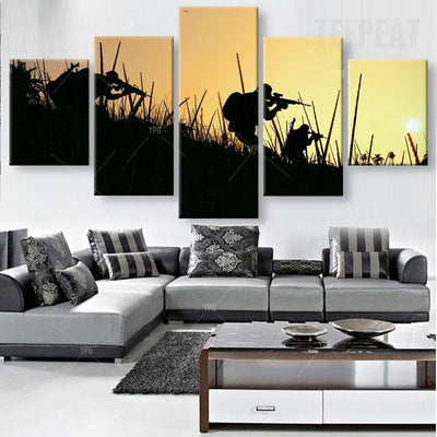 Soldiers Ready For Target Painting - 5 Piece Canvas-Canvas-TEEPEAT