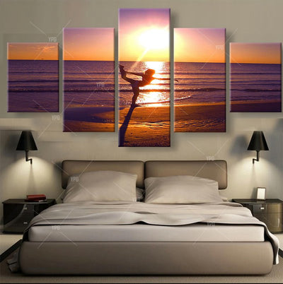 Yoga By The Seaside - 5 Piece Canvas Painting-Canvas-TEEPEAT
