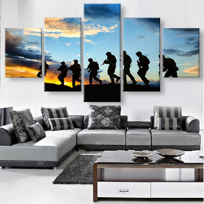 Marching Soldiers Before Sunrise Painting - 5 Piece Canvas-Canvas-TEEPEAT