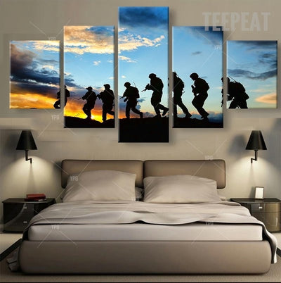 Marching Soldiers Before Sunrise Painting - 5 Piece Canvas