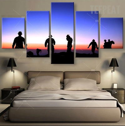 Warriors Under The Colorful Sky - 5 Piece Canvas Painting-Canvas-TEEPEAT