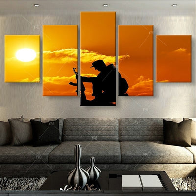 Soldier Under The Golden Sunset - 5 Piece Canvas Painting-Canvas-TEEPEAT