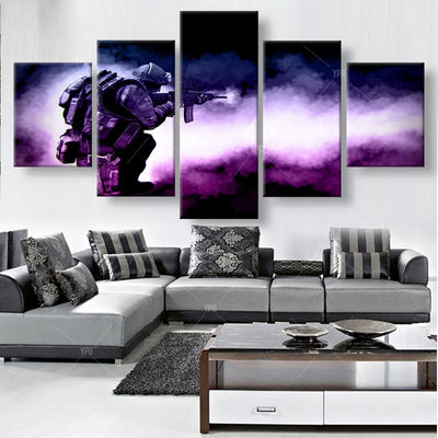 Shooting Soldier - 5 Piece Canvas Painting-Canvas-TEEPEAT