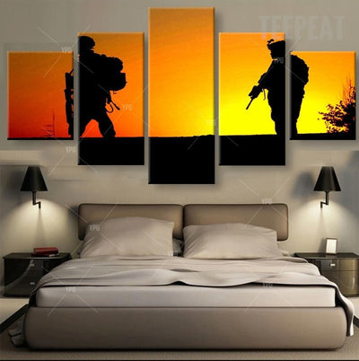 Resting Soldiers Painting - 5 Piece Canvas-Canvas-TEEPEAT