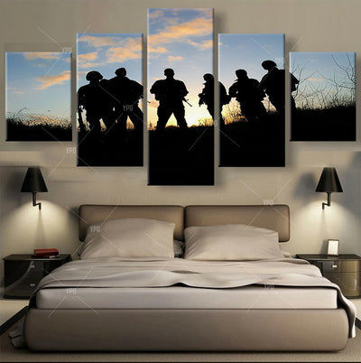 Soldiers Waiting For Orders - 5 Piece Canvas Painting-Canvas-TEEPEAT