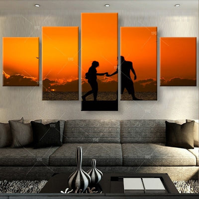 Lovers Under The Setting Sun - 5 Piece Canvas Painting-Canvas-TEEPEAT