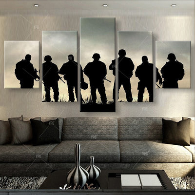 Soldiers Ready For Battle Painting - 5 Piece Canvas-Canvas-TEEPEAT