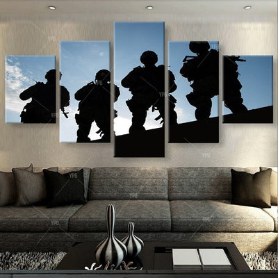 Soldiers On Stand-by Before Sunrise - 5 Piece Canvas Painting-Canvas-TEEPEAT
