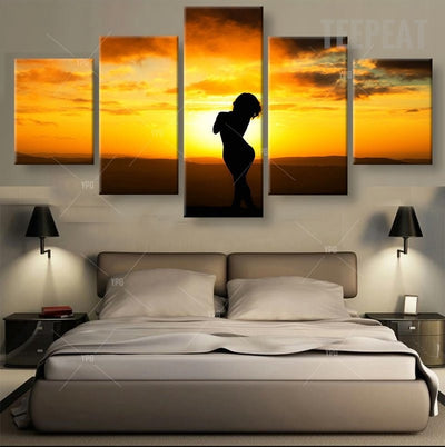 Silhouette Of A Woman Painting - 5 Piece Canvas-Canvas-TEEPEAT