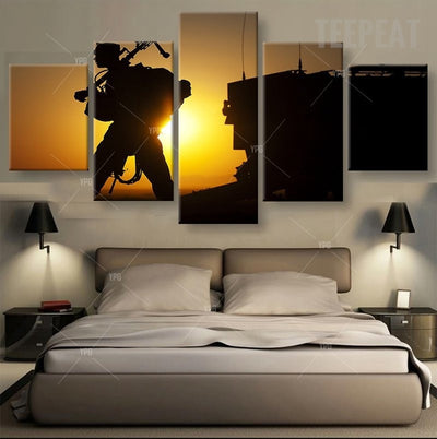 Soldier Leaving at Sunset - 5 Piece Canvas Painting-Canvas-TEEPEAT