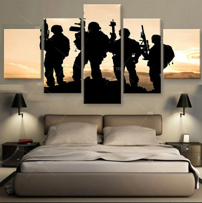 Four Soldiers On Stand-by Painting - 5 Piece Canvas-Canvas-TEEPEAT