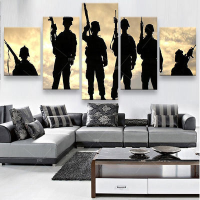 Silhouette of Soldiers Painting - 5 Piece Canvas-Canvas-TEEPEAT