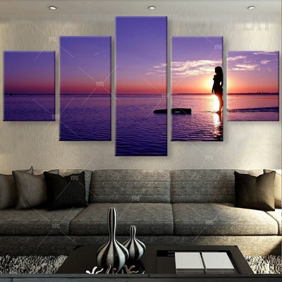 Girl At Sunset Painting - 5 Piece Canvas