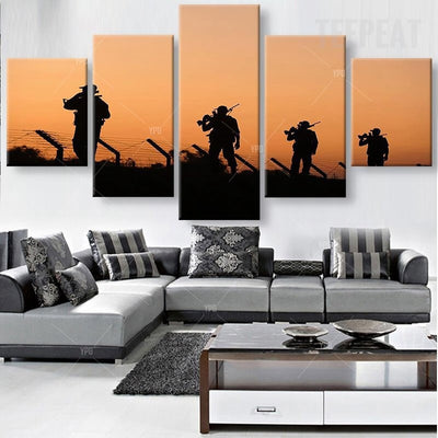 Soldiers At Dusk Painting - 5 Piece Canvas-Canvas-TEEPEAT