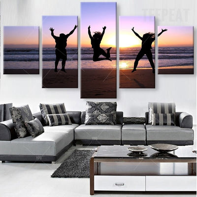 Sunrise Seascape Painting - 5 Piece Canvas-Canvas-TEEPEAT