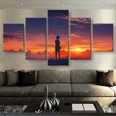 Girl Standing In The Sunset - 5 Piece Canvas