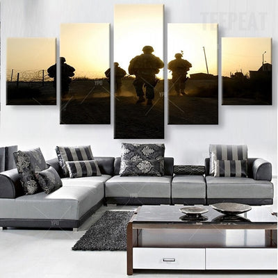 Soldiers On The Move Painting - 5 Piece Canvas-Canvas-TEEPEAT