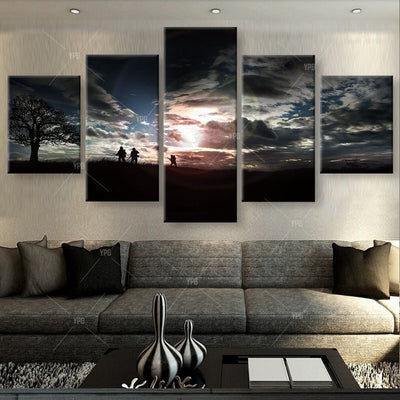 Soldiers On The Mountain - 5 Piece Canvas Painting-TEEPEAT